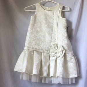 Ivory and gold brocade party dress